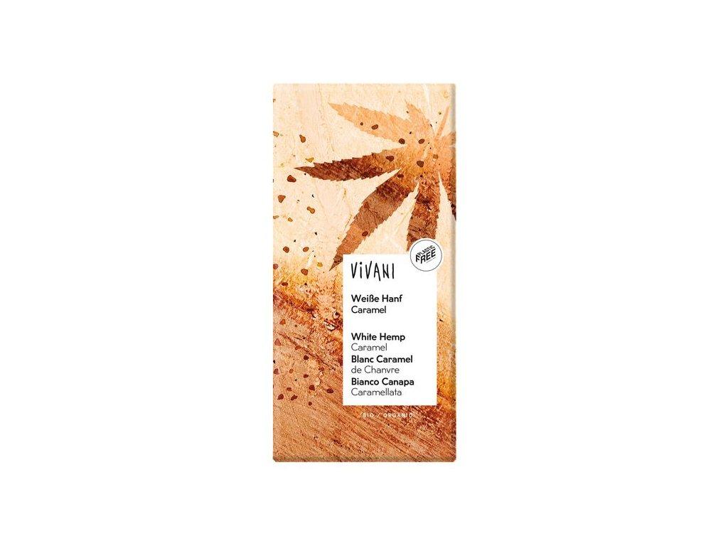 Vivani - Bio bílá čokoláda s konopím a karamelem 80g