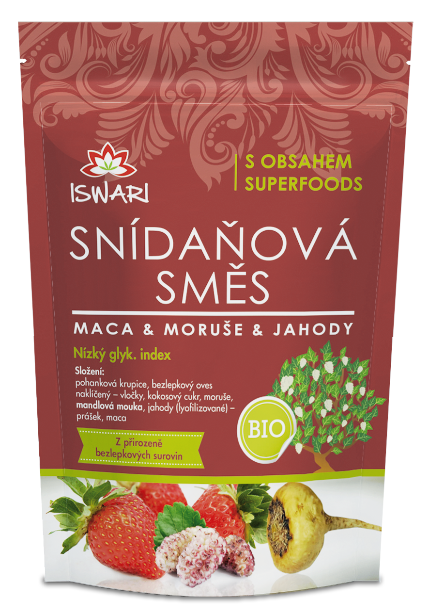 Iswari - Snídaňová směs - Maca, Moruše, Jahoda BIO, 300g