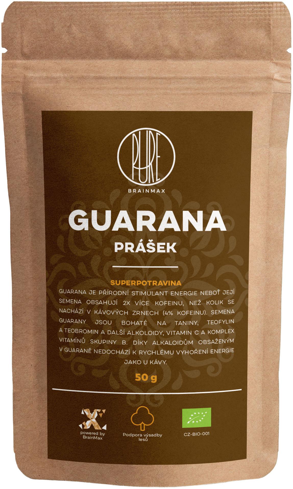 BrainMax Pure Guarana BIO prášok, 50 g *CZ-BIO-001 certifikát