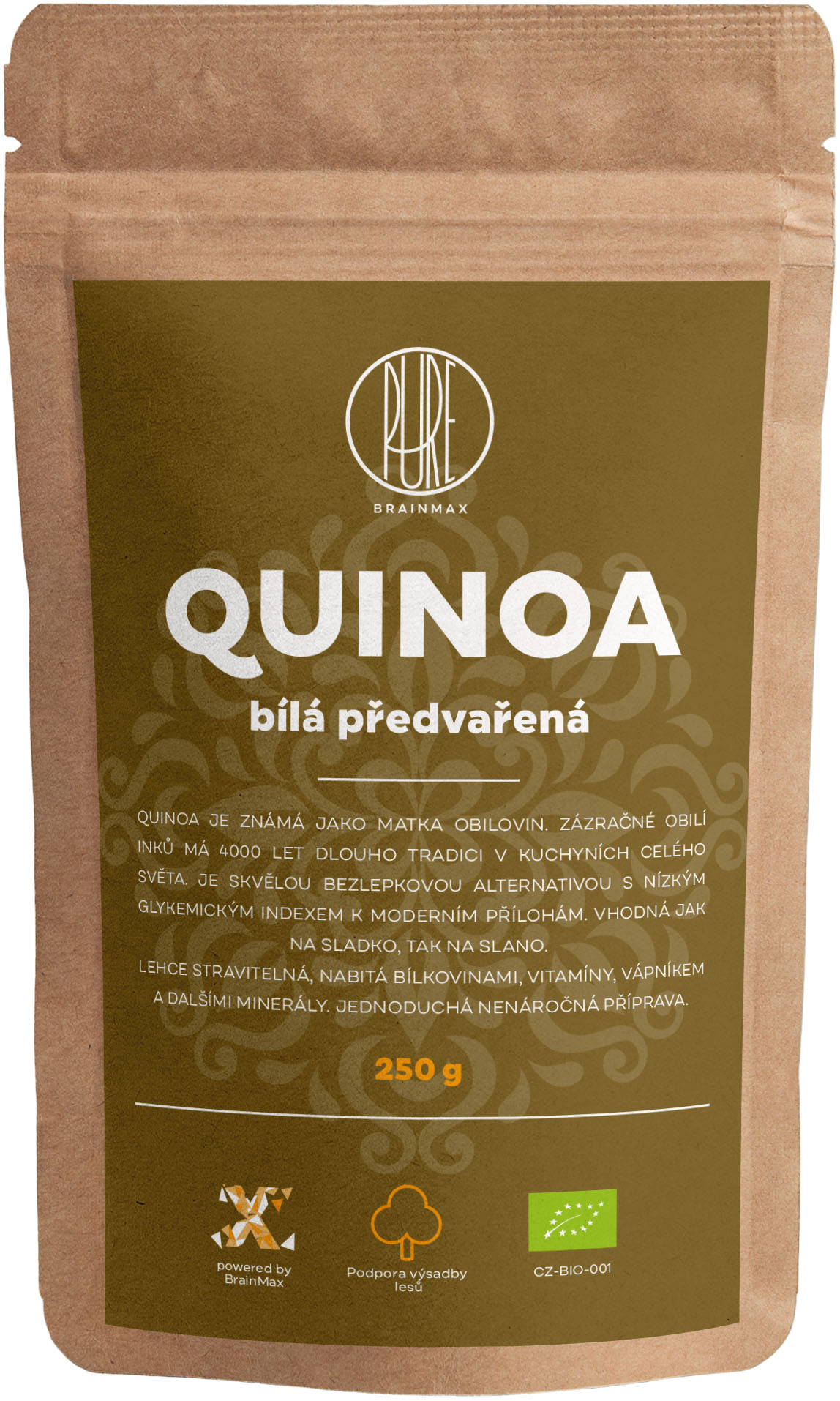 BrainMax Pure Quinoa BIO - biela predvarená, 250 g *CZ-BIO-001 certifikát