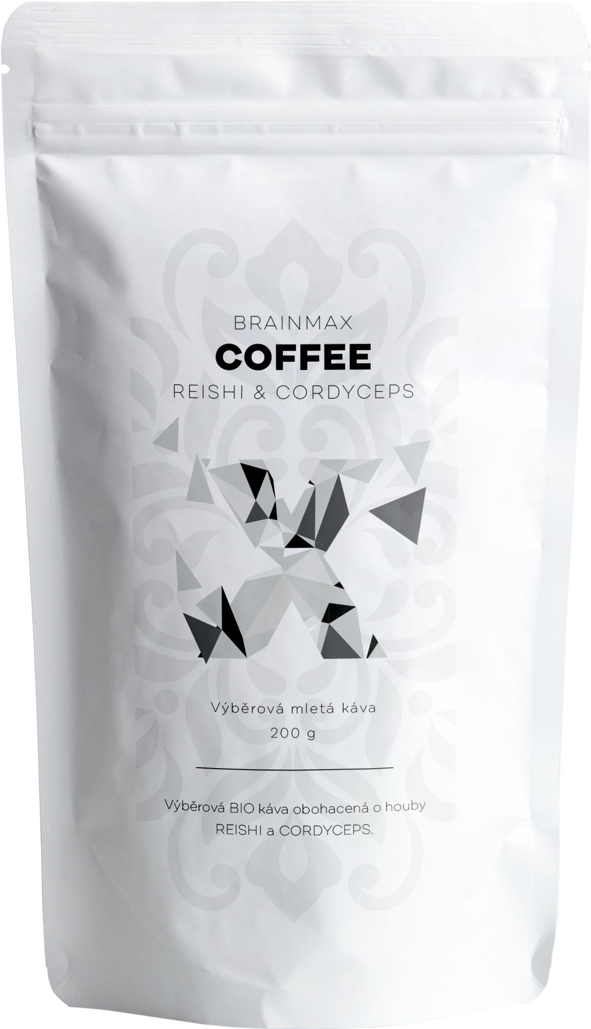 BrainMax Coffee - BIO káva s medicinálnymi hubami - Reishi & Cordyceps, 200g *CZ-BIO-001 certifikát