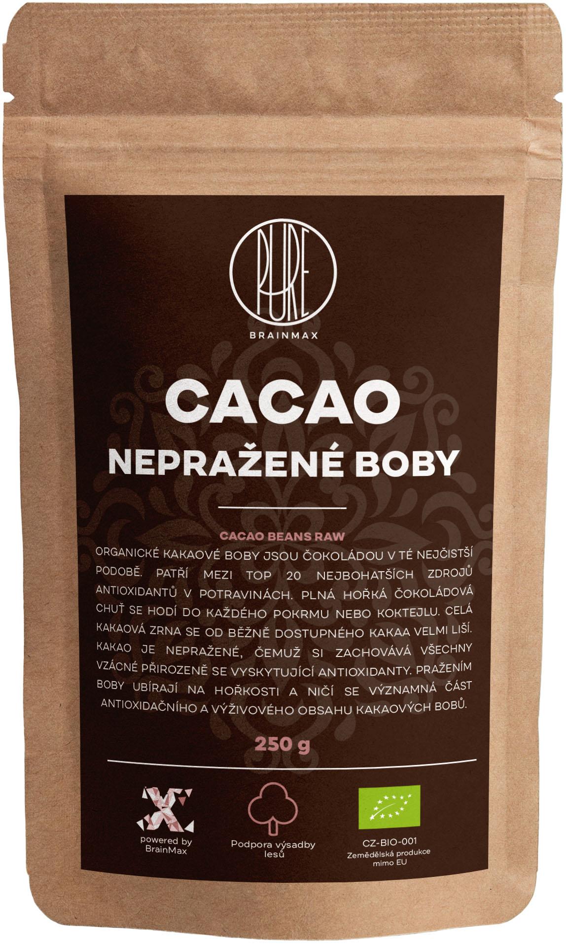 BrainMax Pure Kakaové bôby RAW, BIO, 250 g *CZ-BIO-001 certifikát