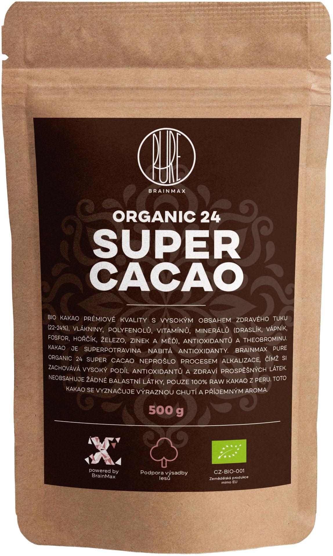 BrainMax Pure Organic 24 Super Cacao, BIO kakao, 500g *CZ-BIO-001 certifikát