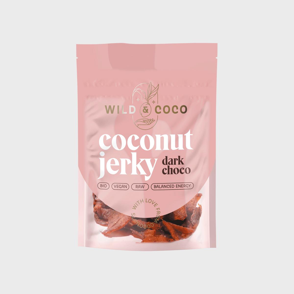 Wild&Coco - BIO Kokosové jerky dark choco, 25 g CZ-BIO-002 certifikát