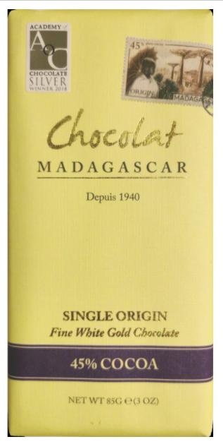 Chocolat Madagascar - Bílá čokoláda, 45% kakao, 85 g