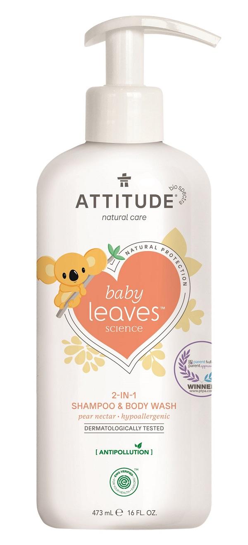 Attitude - Detské telové mydlo a šampón 2v1 - Baby leaves s vôňou hruškovej šťavy, 473ml