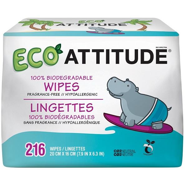 Attitude - Vlhčené obrúsky bez vône - Výhodné balenie (3 x 72 ks)