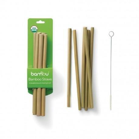 Bambu Bambusová brčka s kartáčkem - 6ks