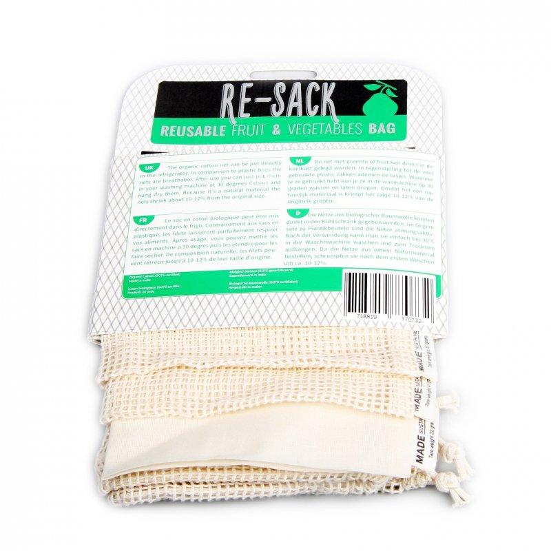 Made Sustained Re-Sack 3pack - balíček sáčkov na ovocie, zeleninu a pečivo (3 ks)
