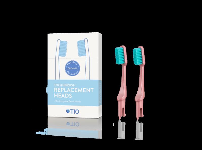 TIO Náhradné hlavice k zubnej kefke (ultra soft) (2 ks) - korálovo ružová