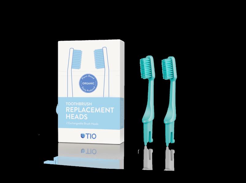 TIO Náhradní hlavice k zubnímu kartáčku (ultra soft) (2 ks) - tyrkysově zelená