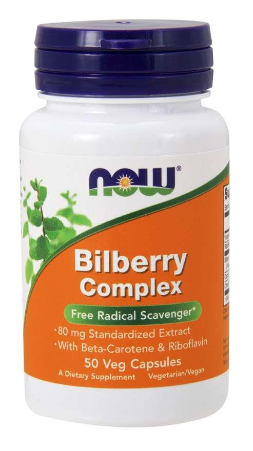 NOW® Foods NOW Bilberry complex (Borůvkový komplex), 80 mg, 50 rostlinných kapslí