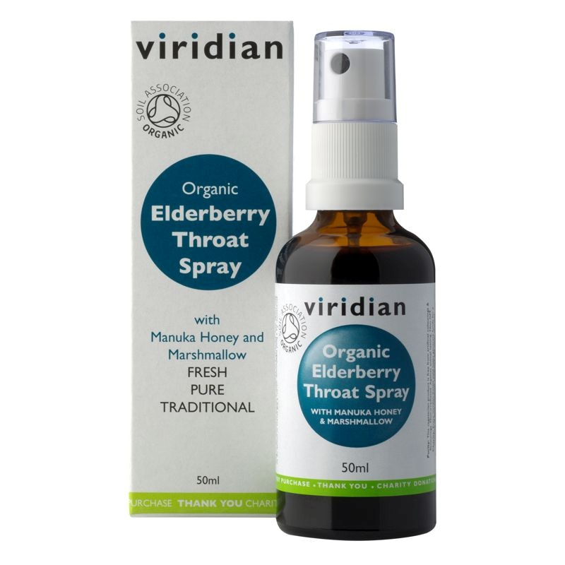 Viridian Elderberry Throat Spray 50ml Organic