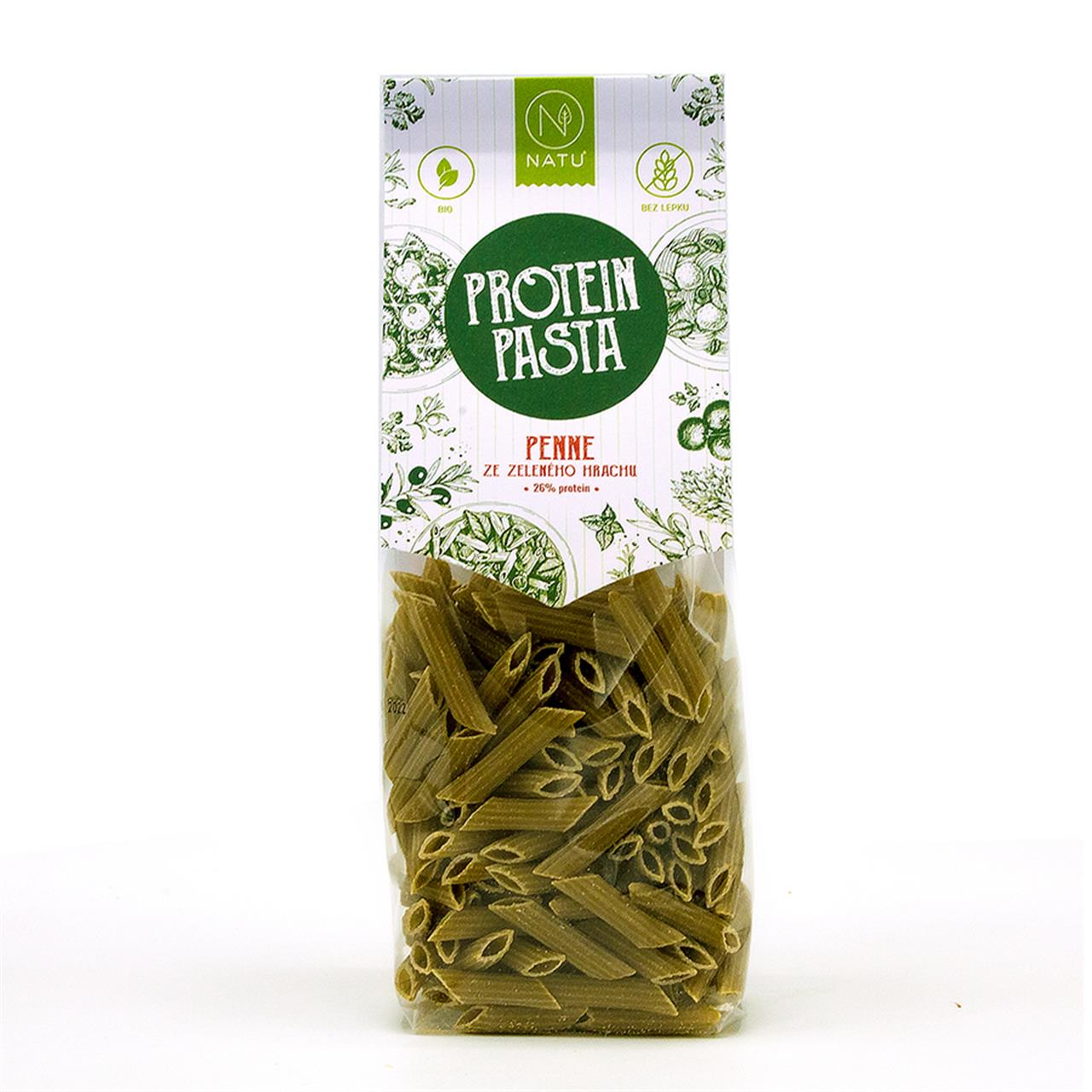 NATU - Protein pasta Penne ze zeleného hrachu BIO, 250g