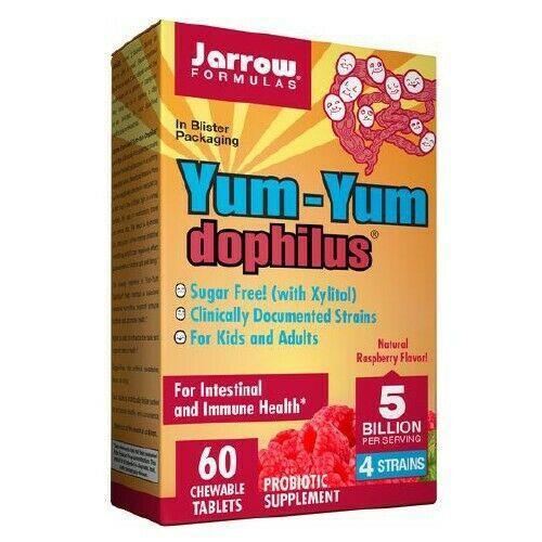 Jarrow Formulas Jarrow Yum-Yum Dophilus 5 mld. organizmov (probiotiká pre deti), malina, 60 žuvacích pastiliek