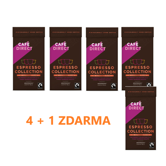 Cafédirect - 4 + 1 ZDARMA! Selekce Espresso kávových kapslí pro Nespresso 10ks