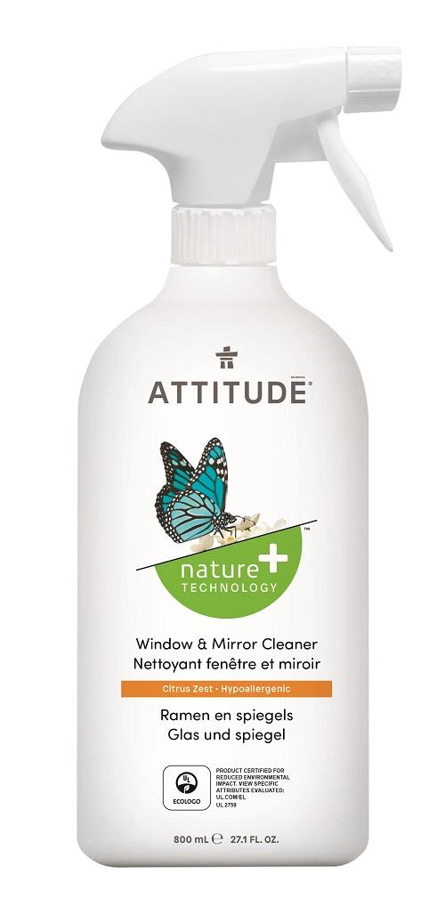 Attitude - čistič na sklo a zrkadlá s vôňou citrónovej kôry, 800 ml
