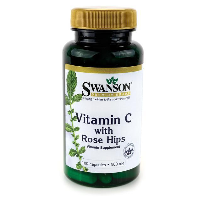 Swanson Vitamin C + Extrakt z Šípků, 500 mg, 100 kapslí
