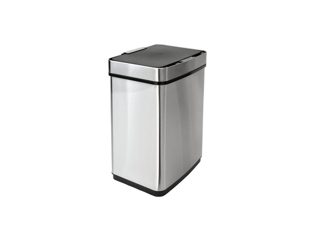 iQtech Luxe Quadrat 50 l, bezdotykový odpadkový koš Lux hranatý, stříbrný