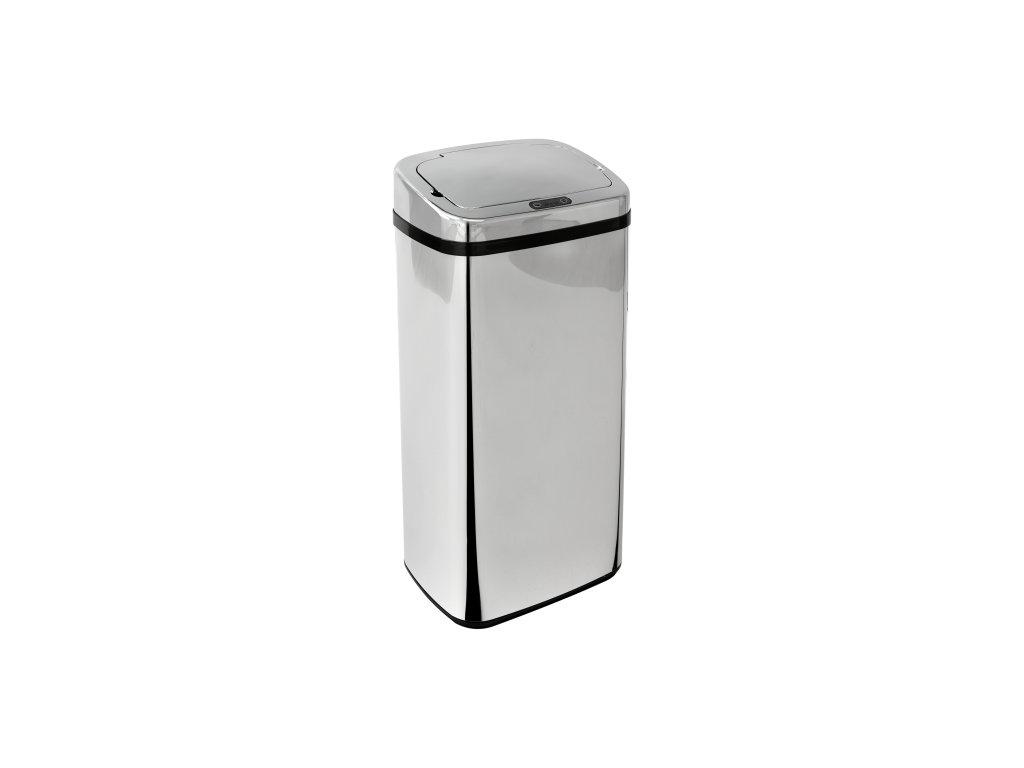iQtech Clasik Quadrat 40 l,bezdotykový odpadkový koš hranatý, stříbrný