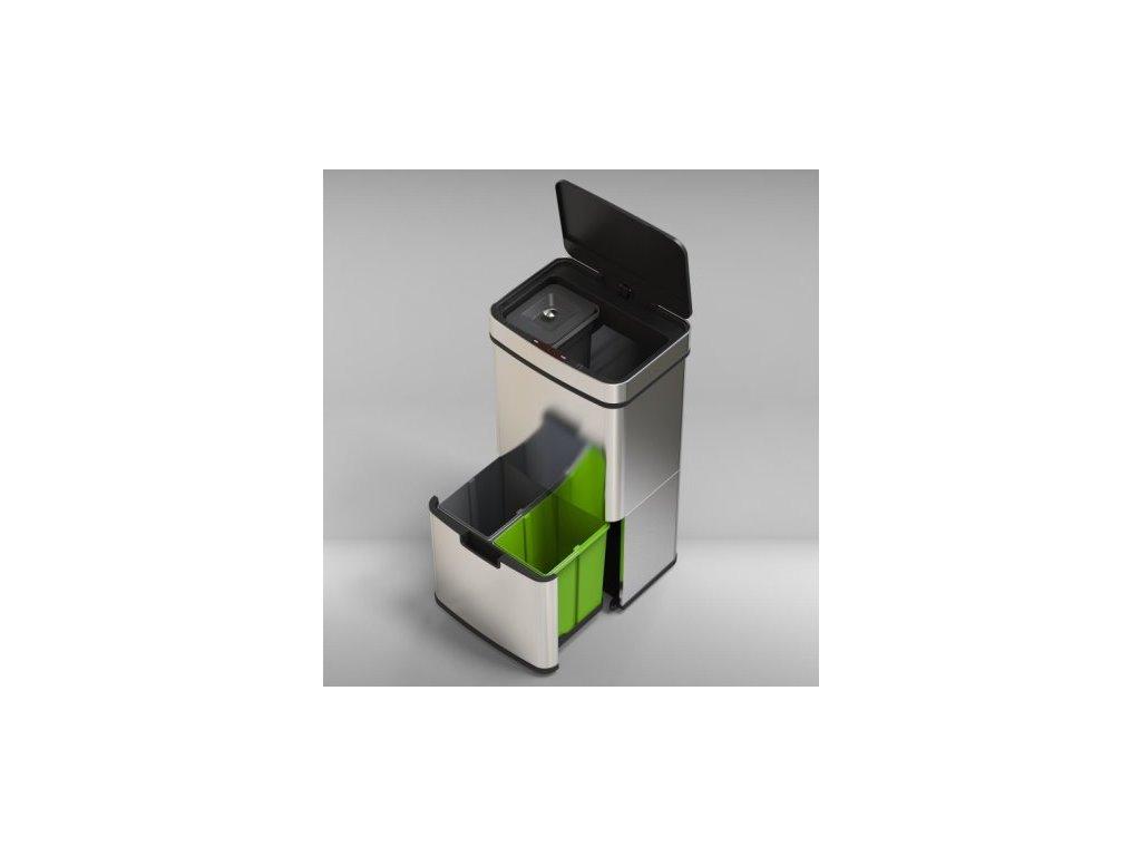 iQtech Luxe Recykle, bezdotykový luxusní koš s nádobami na třídění odpadu, stříbrný