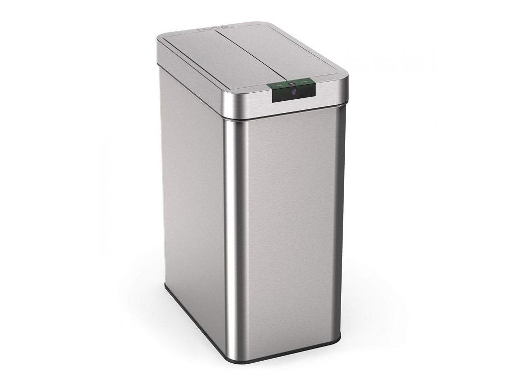 iQtech Papallona 49 l, bezdotykový odpadkový koš hranatý, stříbrný nerez