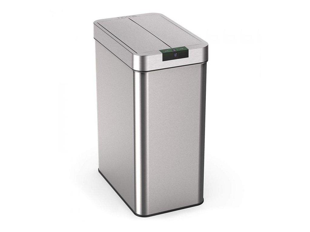 iQtech Papallona 68 l, bezdotykový odpadkový koš hranatý, stříbrný nerez