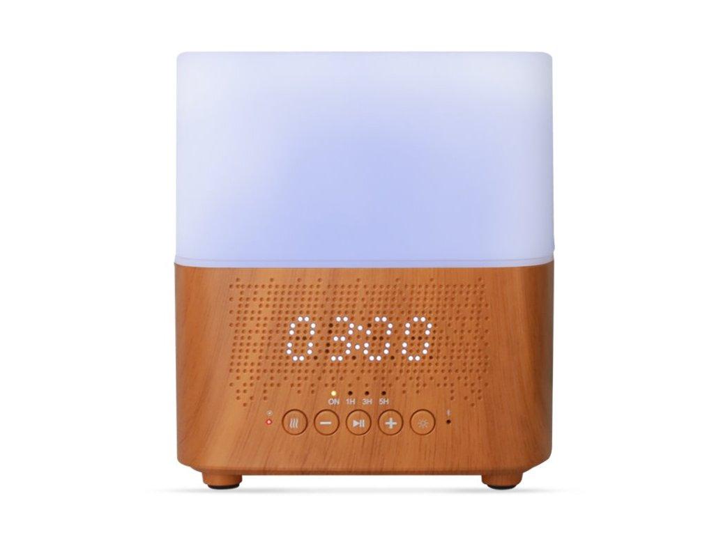 Aromacare Samaya light, ultrazvukový aroma difuzér s hodinami a BT repro, sv. dřevo,, 300 ml