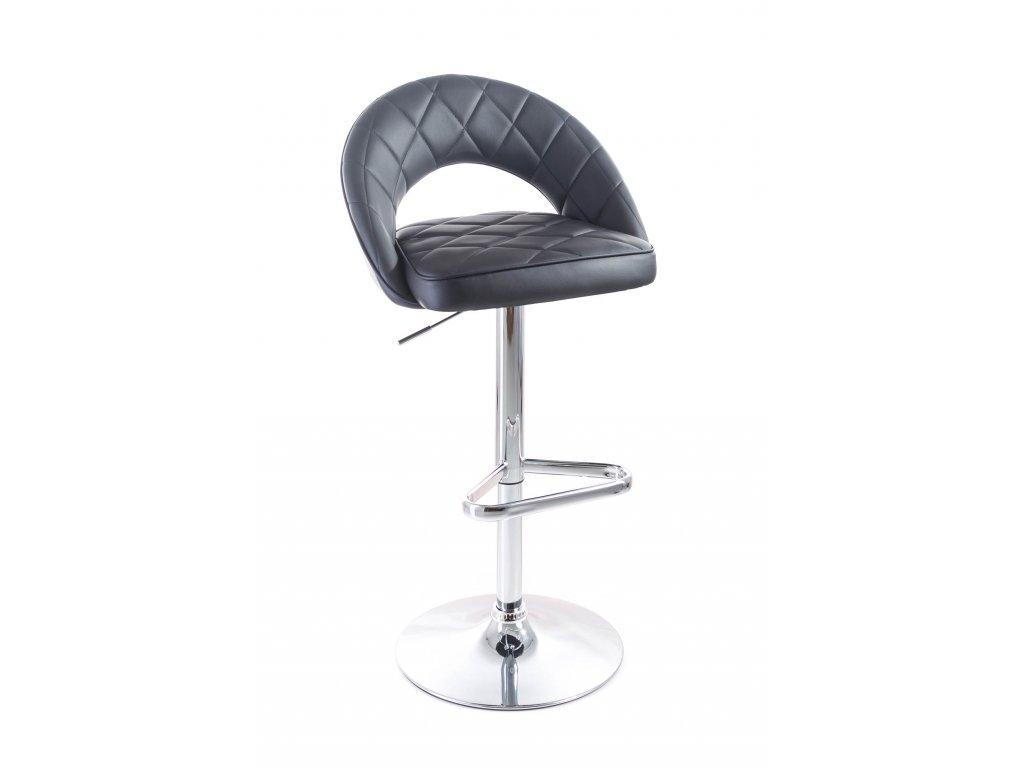 Barová židle G21 Victea koženková, prošívaná black