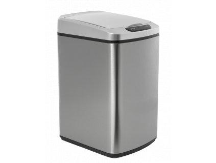 iQ-Tech Quadrat 15 l, bezdotykový odpadkový koš hranatý, stříbrný, nerez/plast