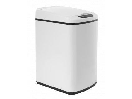 iQ-Tech Quadrat 15 l, bezdotykový odpadkový koš hranatý, bílý, ocel/plast