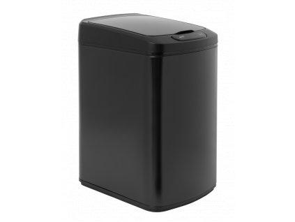 iQ-Tech Quadrat 15 l, bezdotykový odpadkový koš hranatý, černý, ocel/plast