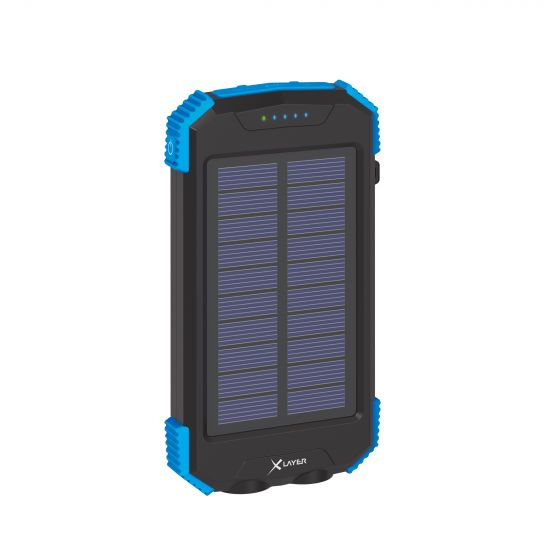 XLAYER Powerbanka PLUS Solar QI Wireless 10000 mAh černá/modrá