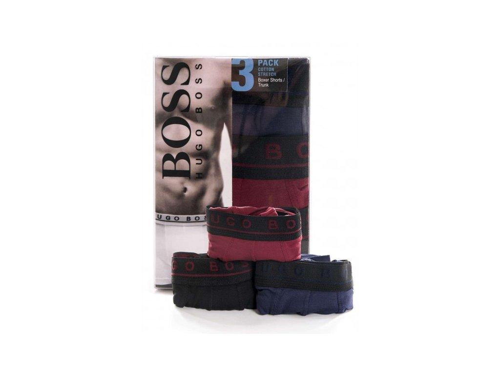 Boxerky Hugo Boss trikolora cerne 3ks