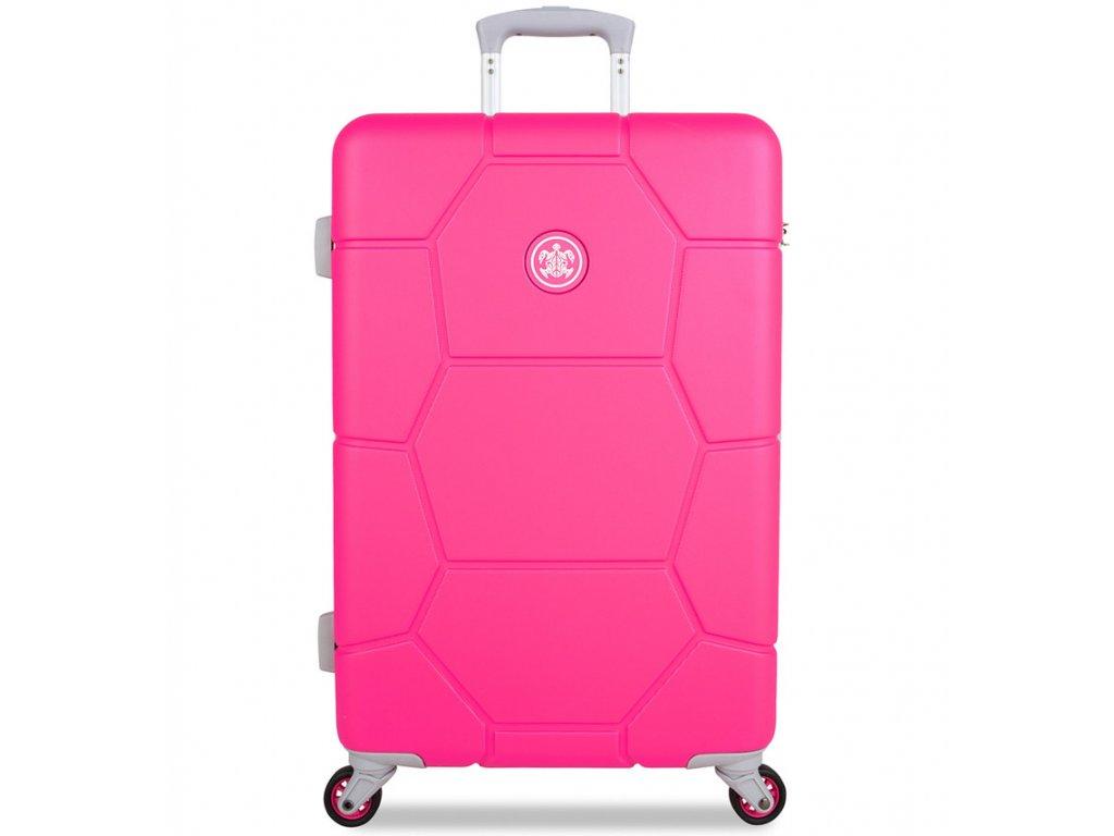 Cestovní kufr SUITSUIT® TR-1248/3-M ABS Caretta Hot Pink  + Pouzdro zdarma