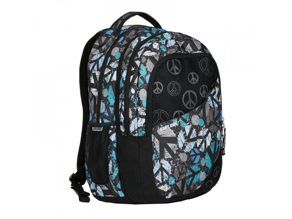 Studentský batoh 2v1 DANIEL Peace black  + Pouzdro zdarma + sleva 10% s kódem CERVEN10