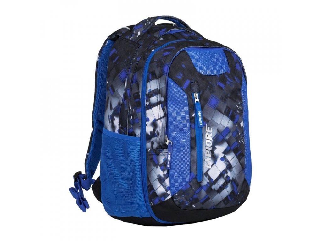 Studentský batoh 2v1 LIAN Mix blue  + Pouzdro zdarma