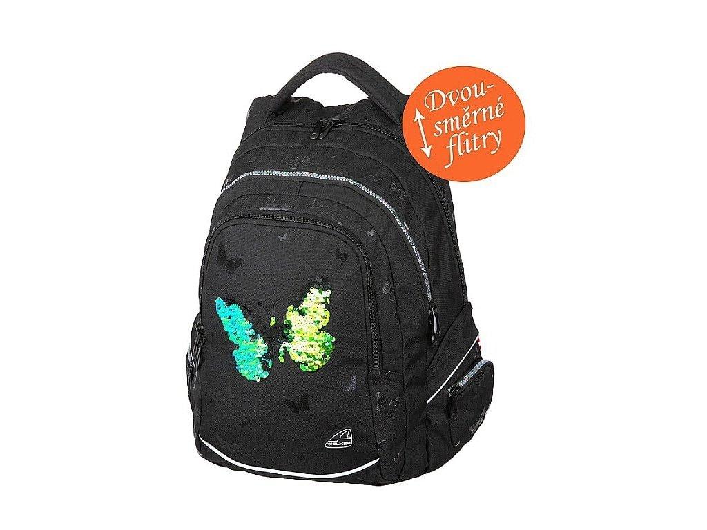Studentský batoh FAME Sparkling Butterfly  + Pouzdro zdarma