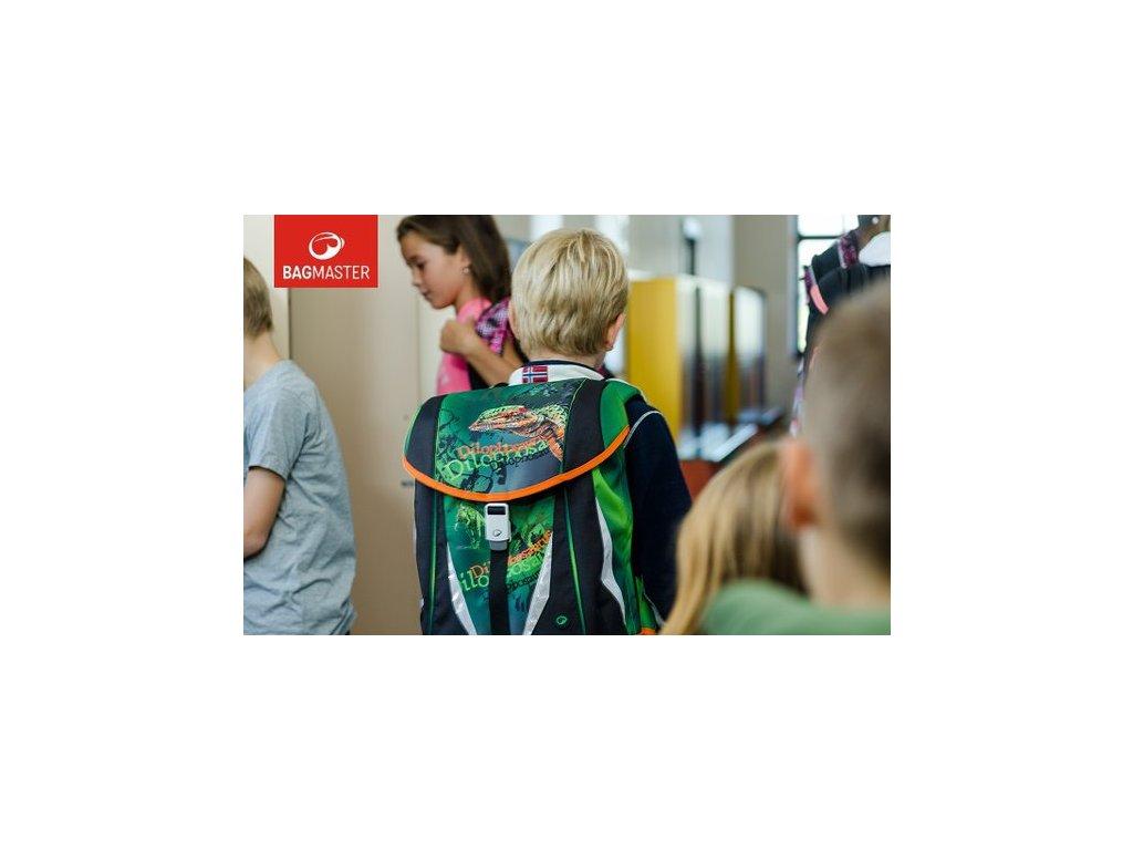Bagmaster POLO 6 B GREEN ORANGE Klučičí školní aktovka s dinosaurem ... aac6c29c83