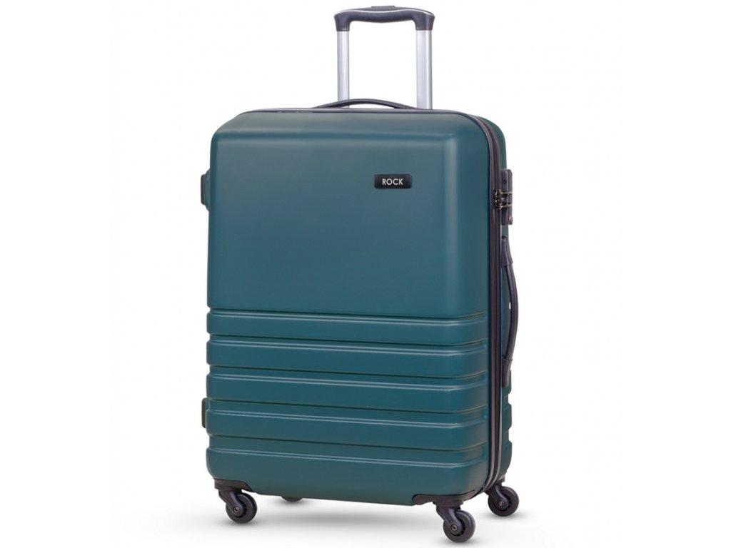 Cestovní kufr ROCK TR-0169/3-M ABS - petrolejová  + Pouzdro zdarma