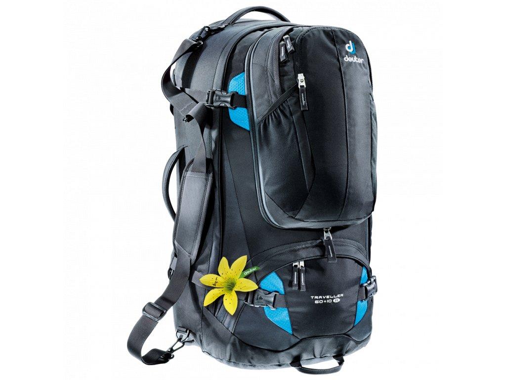 Deuter Traveller 60+10 SL black-turquoise - Batoh  + Pouzdro zdarma