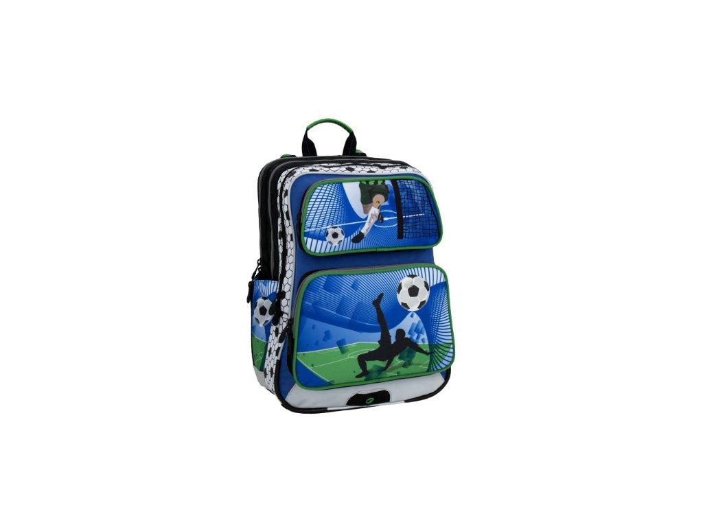 Bagmaster GALAXY 6 D BLUE GREEN WHITE Klučičí školní batoh fotbal + Pouzdro  zdarma 5a4b7fe9b8