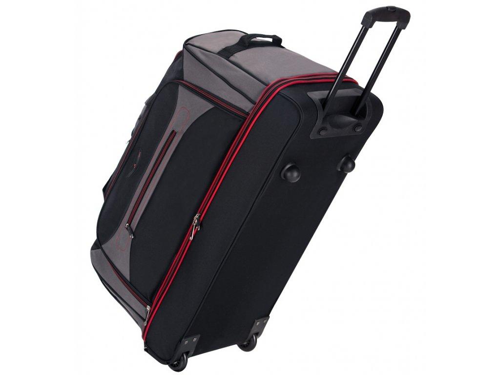 """Cestovní taška na kolečkách SIROCCO T-7554/30"""" - černá/šedá/červená  + Pouzdro zdarma"""