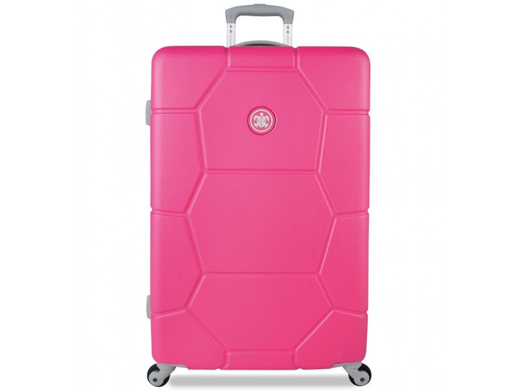 Cestovní kufr SUITSUIT® TR-1227/3-L ABS Caretta Shocking Pink  + Pouzdro zdarma