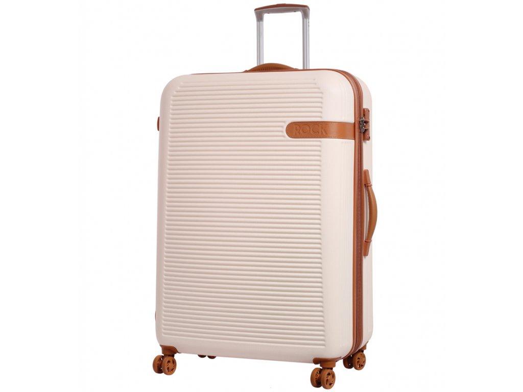 Cestovní kufr ROCK TR-0159/3-XL ABS - krémová  + Pouzdro zdarma