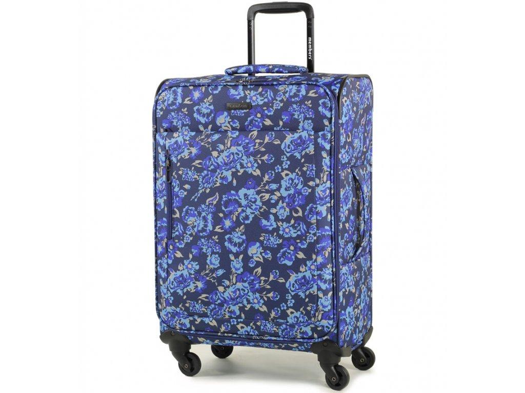 Cestovní kufr MEMBER'S TR-0131/3-M - modrá/Flowers  + PowerBanka nebo pouzdro zdarma