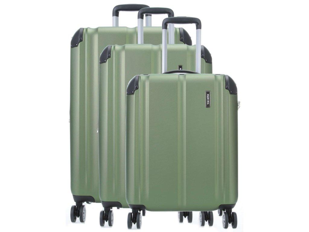 Travelite City 4w S,M,L Green – sada 3 kufrů  + Pouzdro zdarma