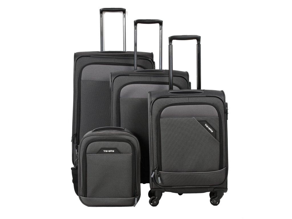 Travelite Derby 4w S,M,L Anthracite – sada 3 kufrů + Board Bag  + Pouzdro zdarma