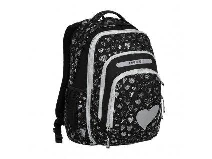 Školní batoh 2v1 BAR Black Hearts  + Pouzdro zdarma