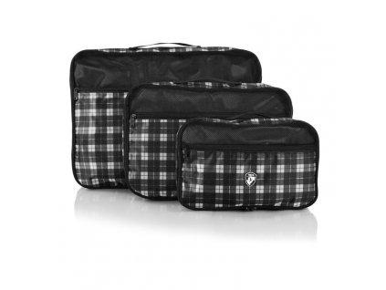 Heys Exotic Packing Cube Set Black/white plaid – sada 3 ks